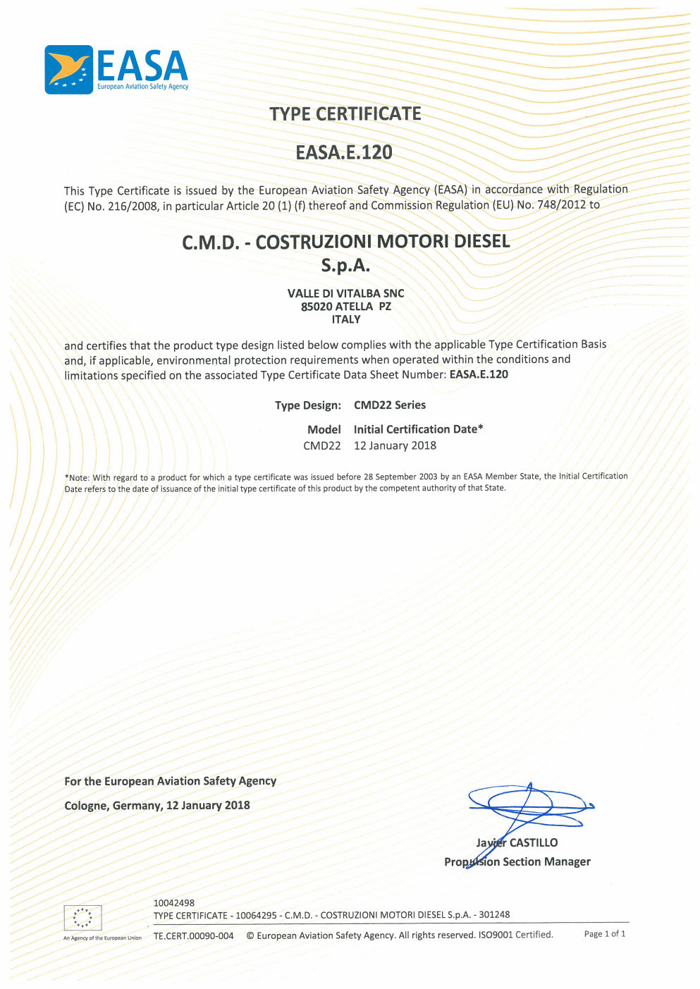 Cmd Obtains Easa Type Certificate For Cmd22 Gasoline Engine In Vla